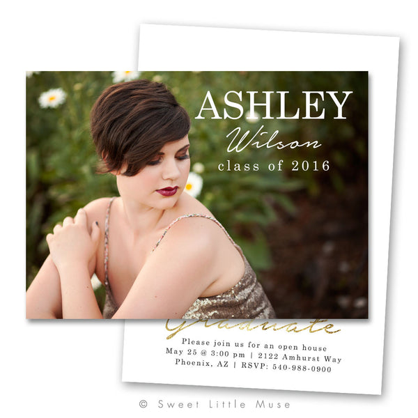Minimalist Gold Senior Graduation Announcement Template