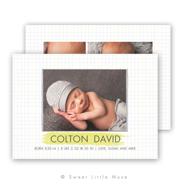 Clean Boy Birth Announcement Template