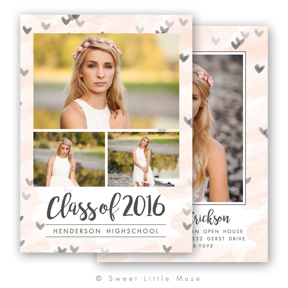 Senior Graduation Announcement Template - Hearts