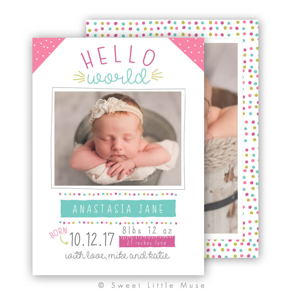 Girl Colorful Birth Announcement Template