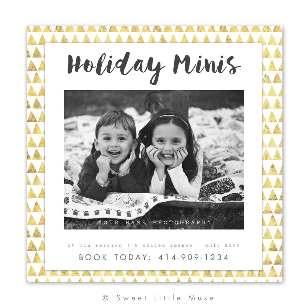 Gold Christmas Holiday Mini Session Template 5x5