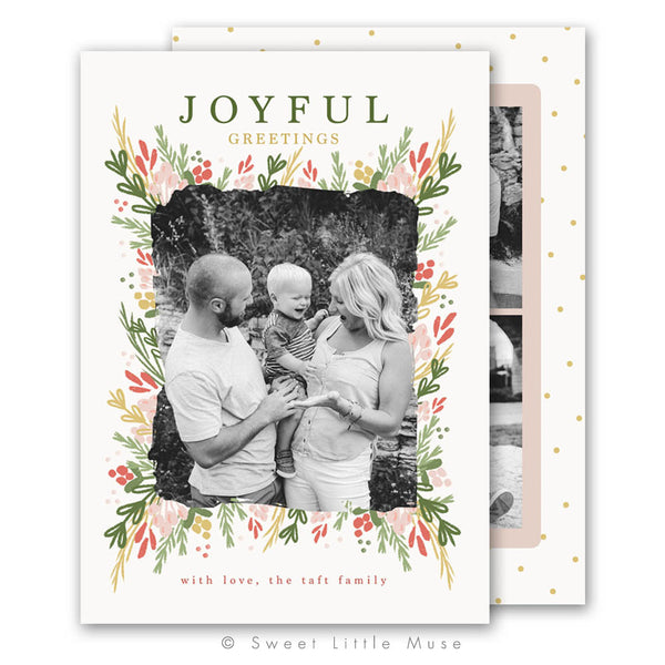 Botanical Christmas Card Template