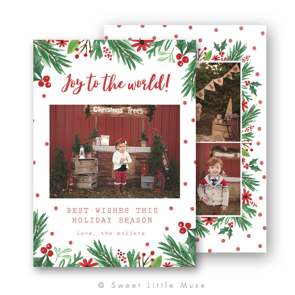 Watercolor Garland Christmas Card Template