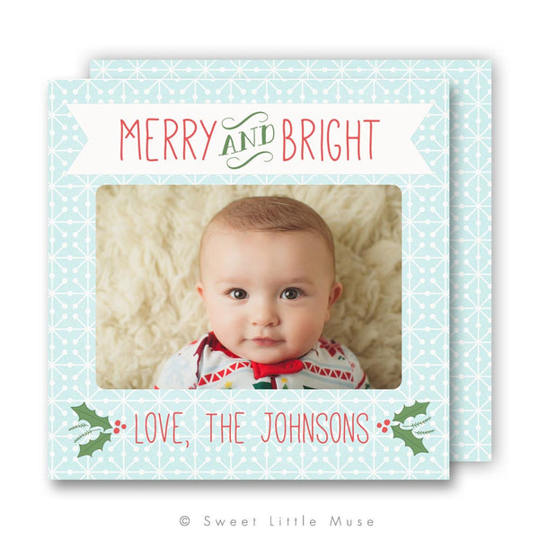 Holly Christmas Card Template