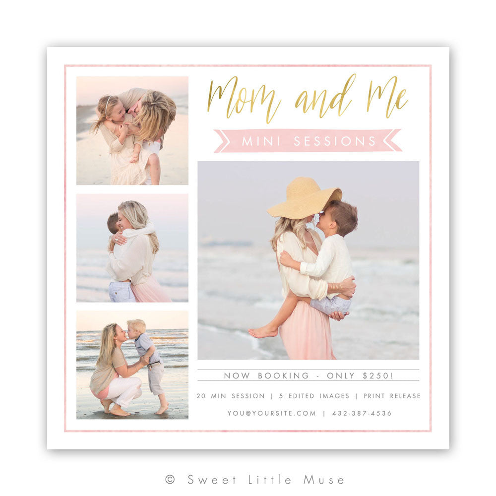 Mommy and Me Spring Mini Session Template 5x5