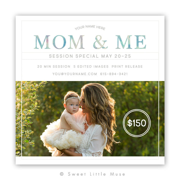 Mom and Me Spring Mini Session Template 5x5