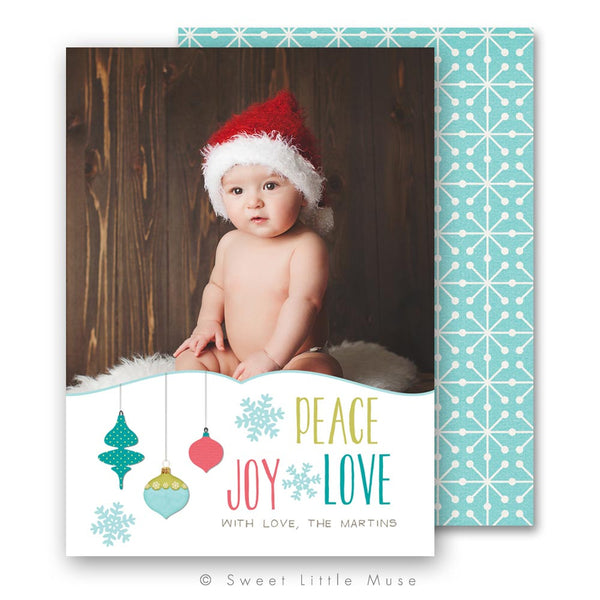 Peace, Love & Joy Christmas Card Template