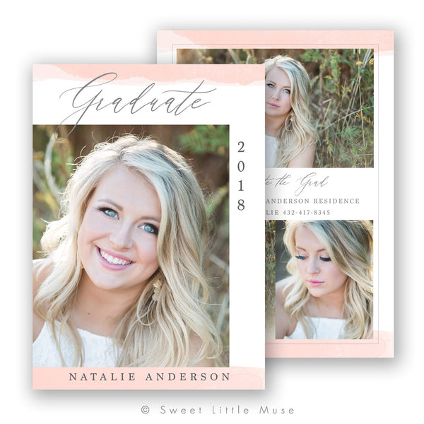 Pink Watercolor Senior Graduation Announcement