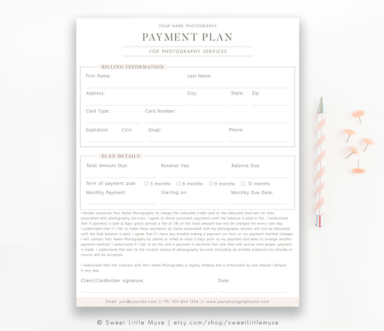 Photography Payment Plan - Business Form