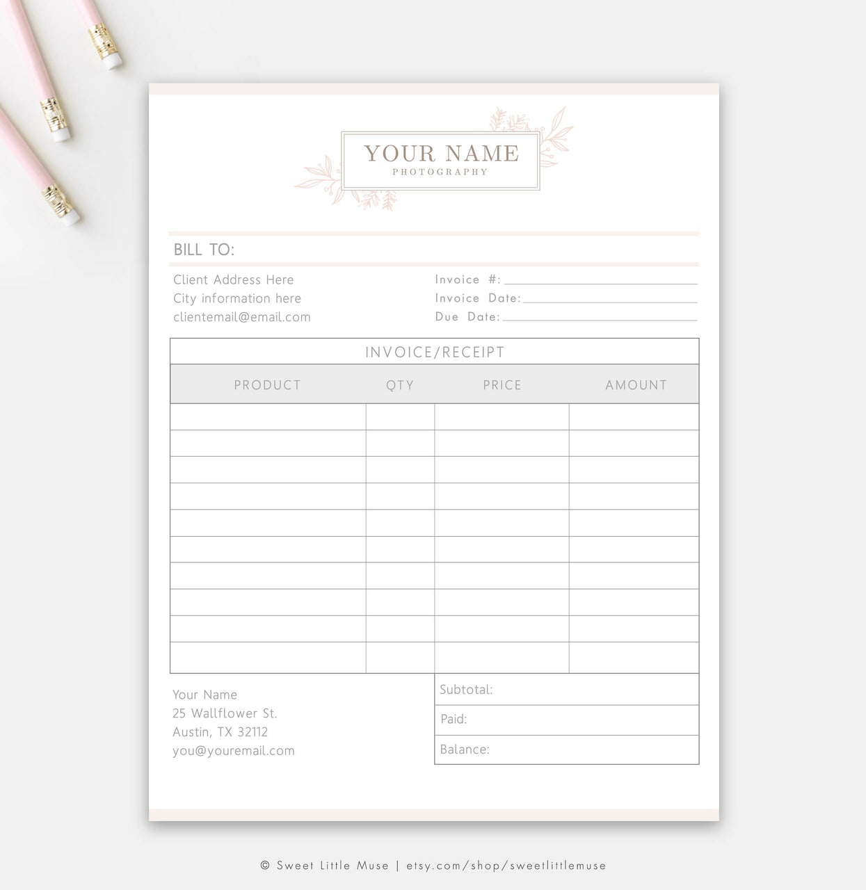 Floral Invoice - Photography Business Form