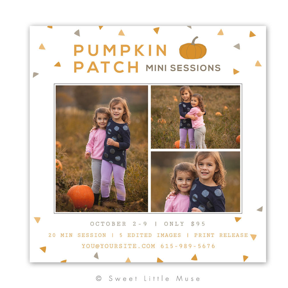 Pumpkin Fall Mini Session Template 5x5