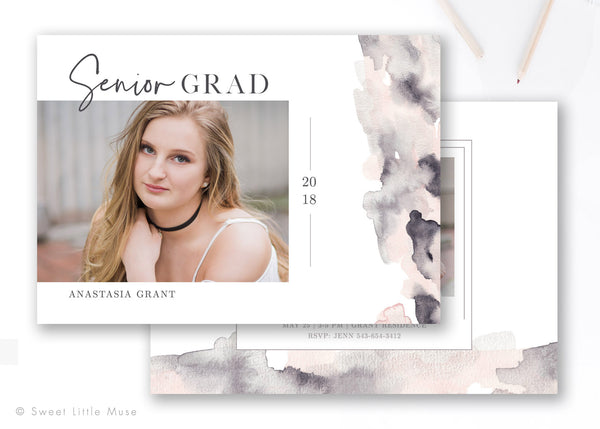 Watercolor Senior Graduation Announcement