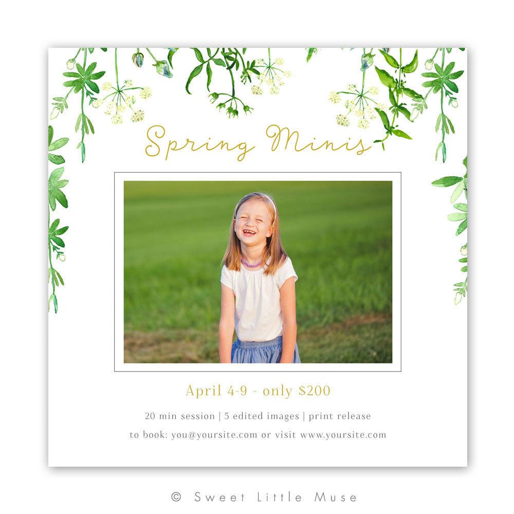 Spring Mini Session Template - Green Leaves