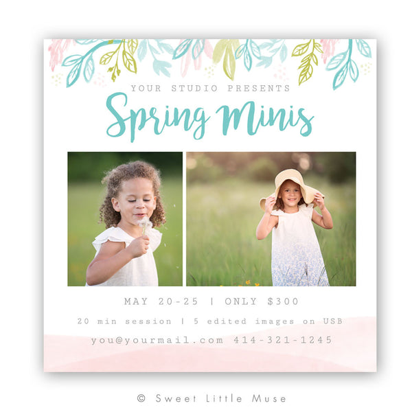 Floral Spring Mini Session Template 5x5