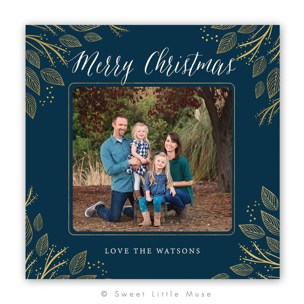 Gold Leaves Christmas Card Template