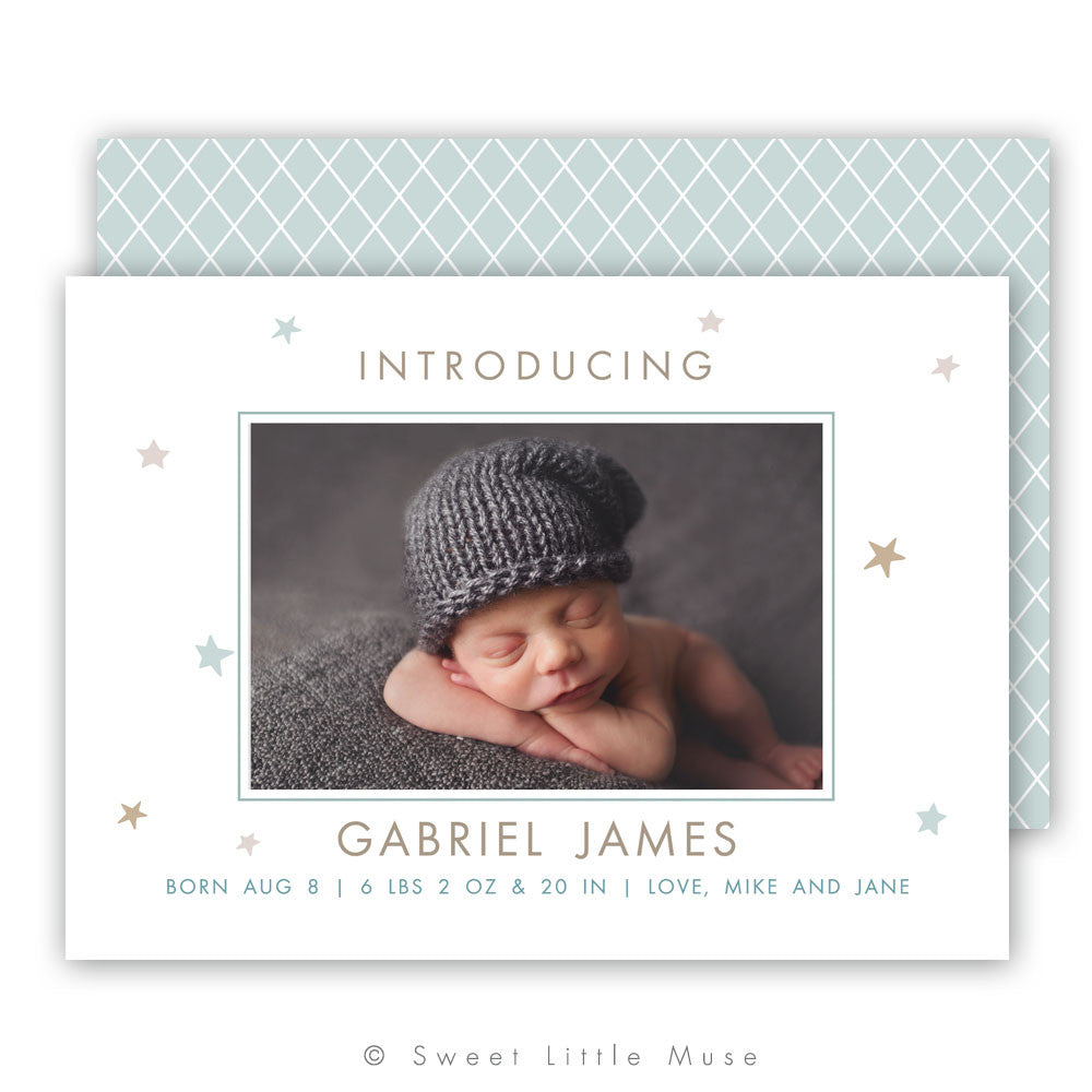Stars Birth Announcement Template Boy