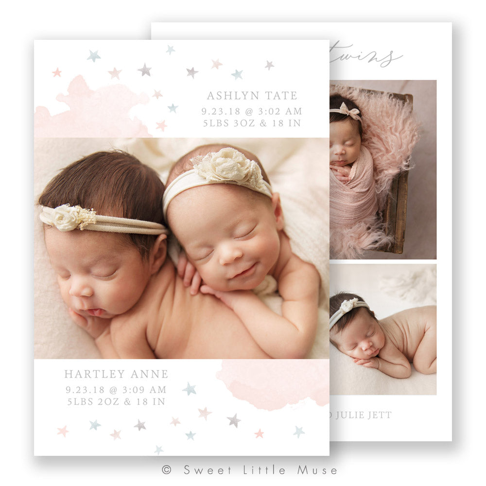 Lil' Twin Stars Birth Announcement