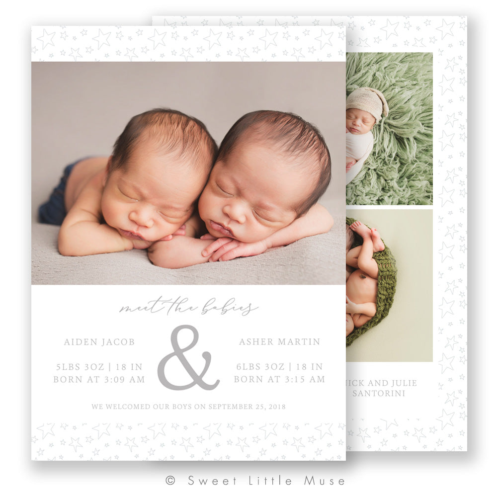 Starry Twins Birth Announcement Template