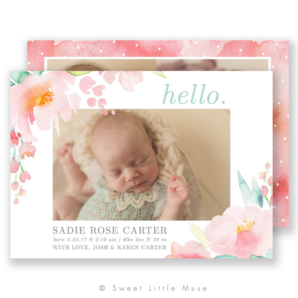 A Peony Story Birth Announcement