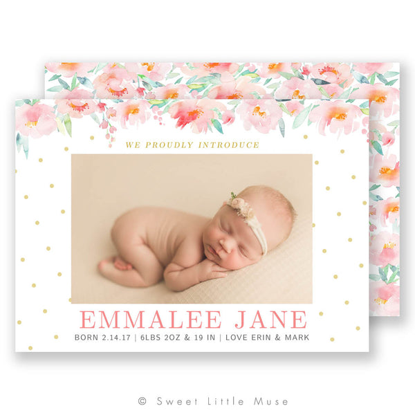 A Floral Story Birth Announcement