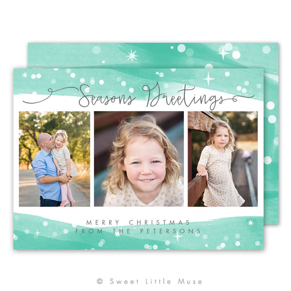 Bokeh Watercolor Christmas Card Template