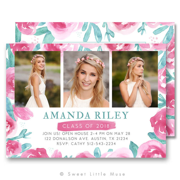 Chic Watercolor Floral Senior Graduation Announcement Template