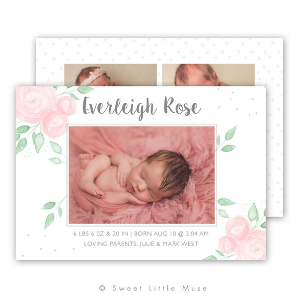 Girl Watercolor Floral Birth Announcement Template
