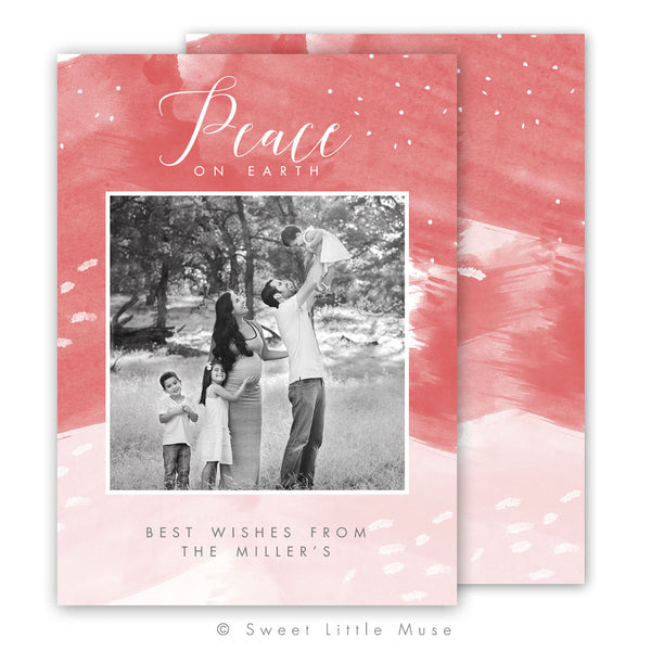 Watercolor Christmas Card Template