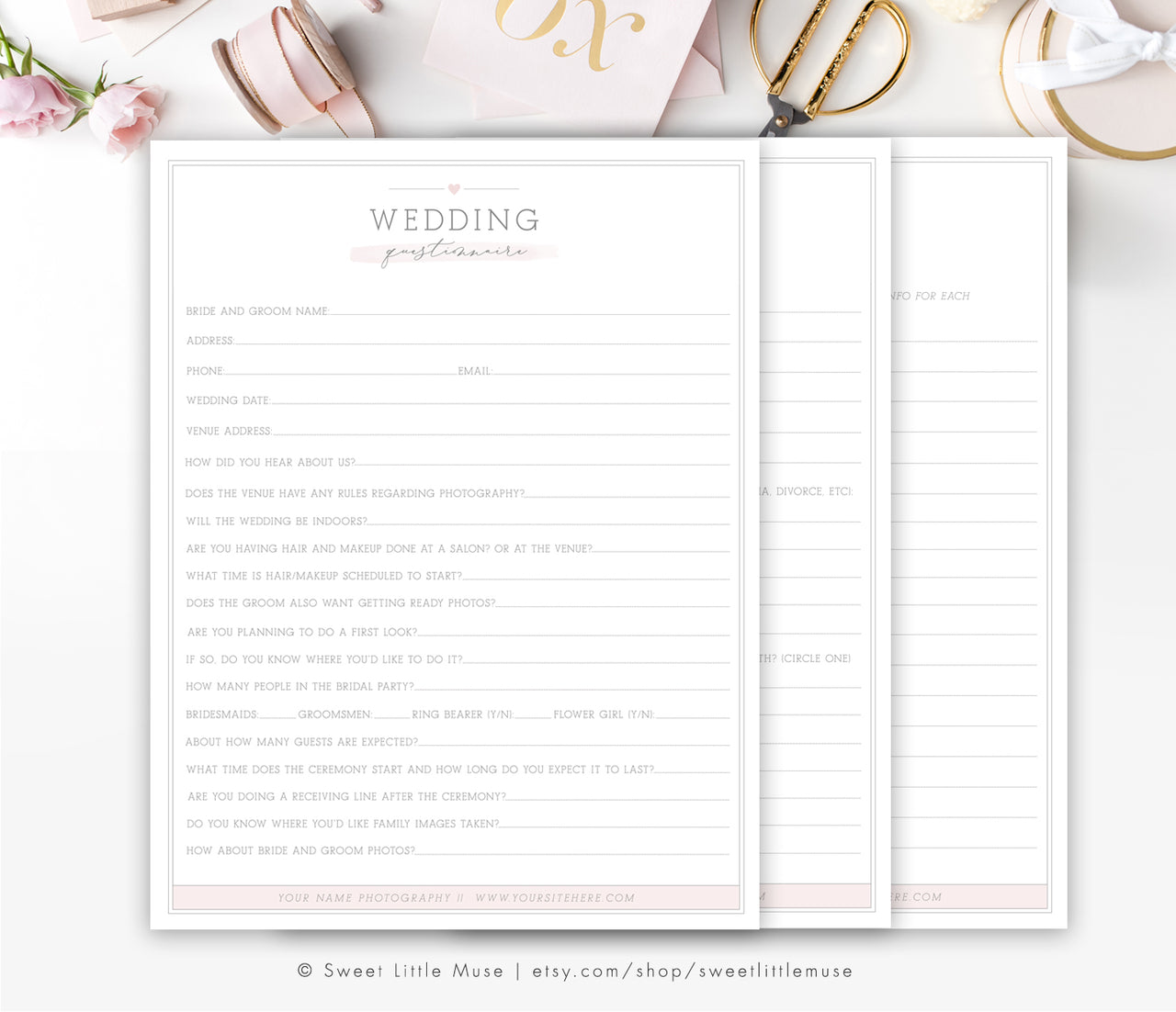 Wedding Photography Questionnaire - Business Forms