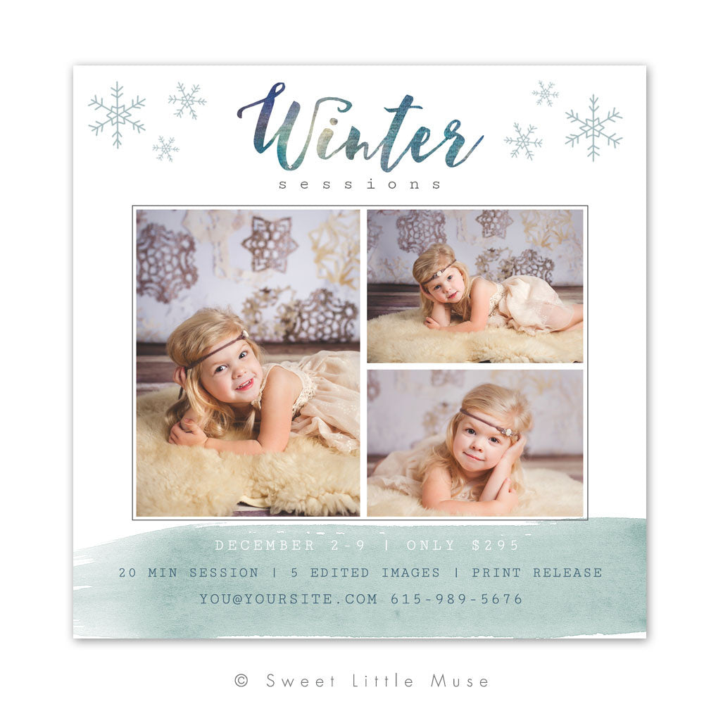 Winter Mini Session Template  5x5