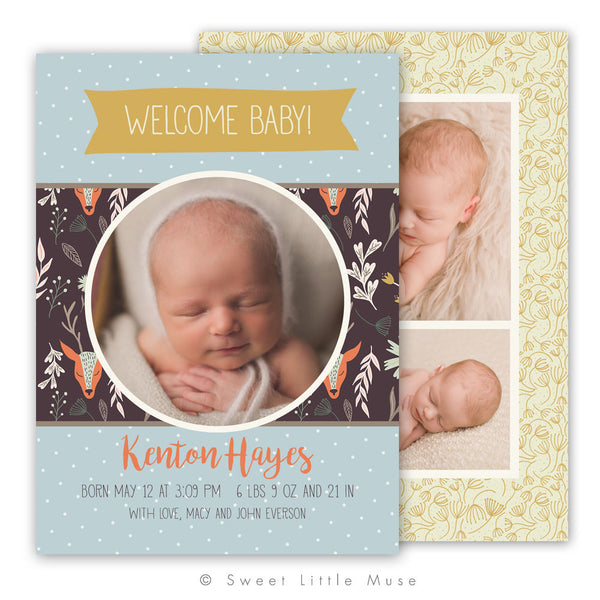 Boy Woodland Birth Announcement Template
