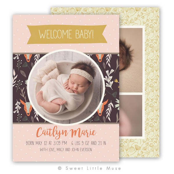 Girl Woodland Birth Announcement Template