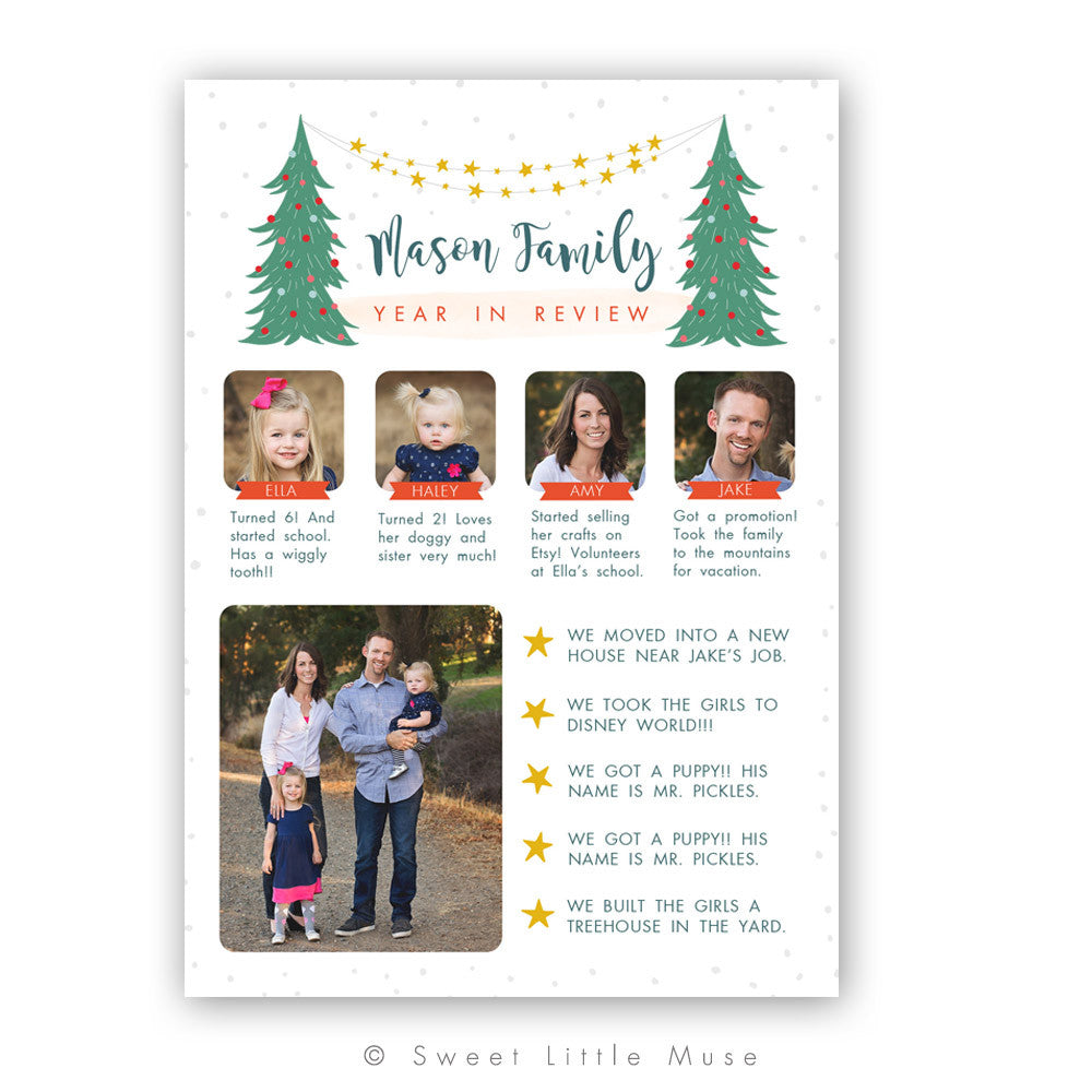 Christmas Card Template.Year In Review Christmas Card Template