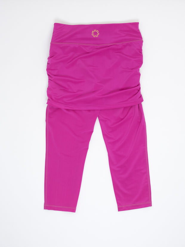 The Fontaine skirted capri is beautiful pink and silky soft, by joules athletics.