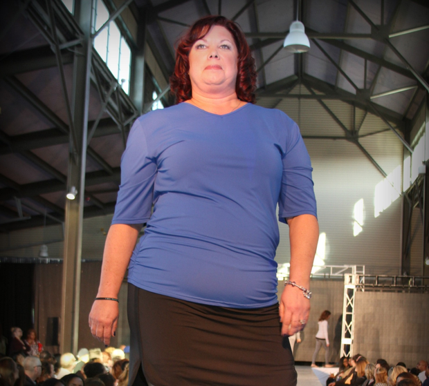 Modeling the Lisa Top by Joules Athletics at New York Fashion Week.