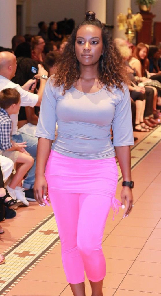 Modeling the Fontaine Skirted Capri by Joules Athletics at New York Fashion Week.