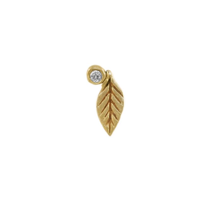 Leaf & Diamond Twinkle Stud
