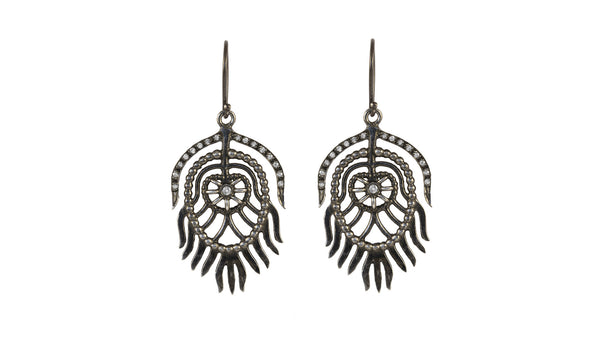 Sterling Silver Peacock Earrings