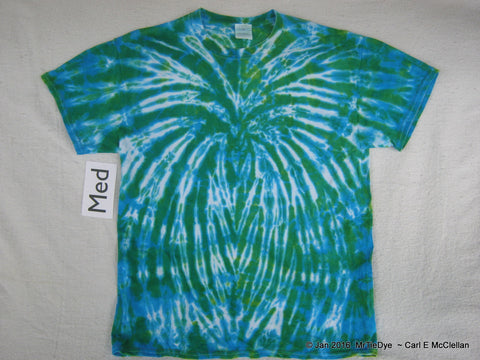 Adult Medium Tie-Dye Blue/Green Spider Tee