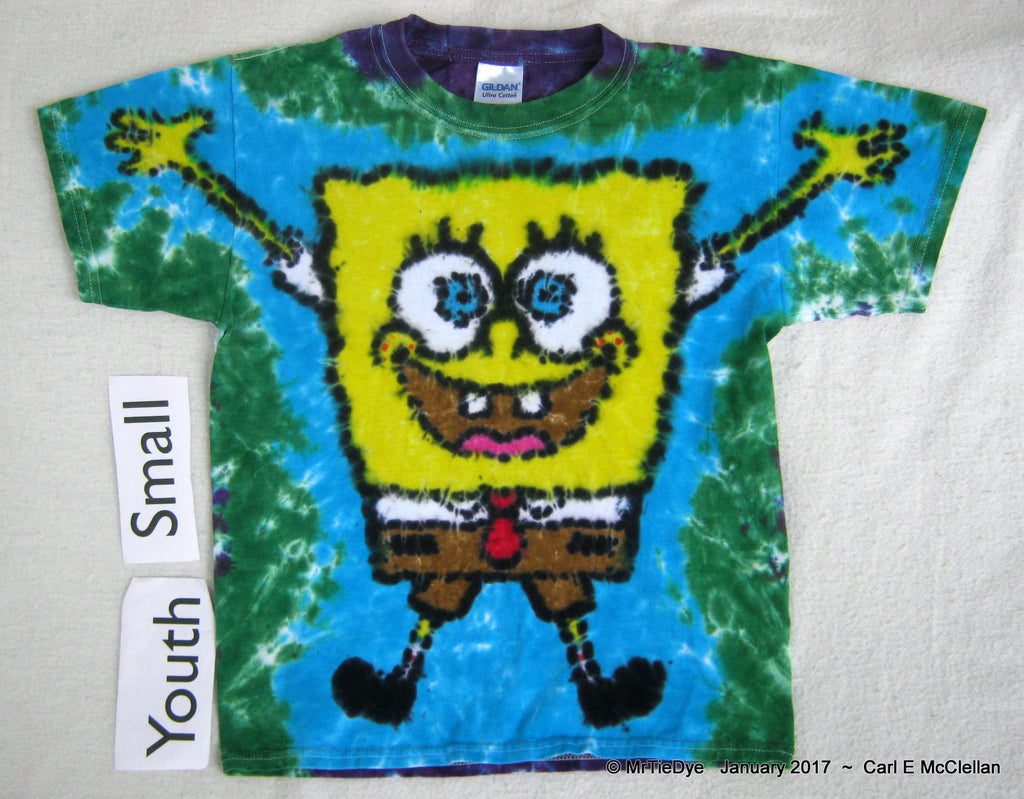 Youth Small Tie-Dye Sponge Bob Tee