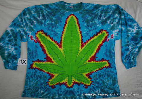 4X Long Sleeve Tie-Dye Green Pot Leaf Tee