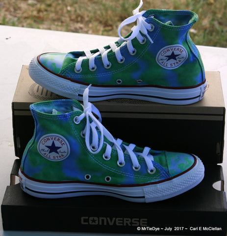 Men sz 5 Hand Dyed Blue and Green Converse Sneakers Hi Top Women sz 7