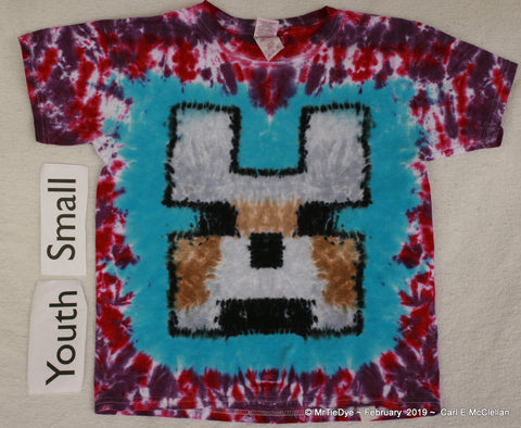 Youth Small Tie-Dye Minecraft Wolf Tee