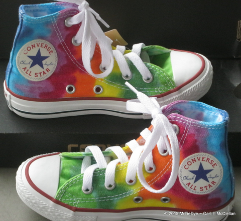 Children sz 10.5 Rainbow Hand Dyed Converse Hi Top Sneakers