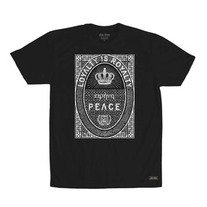 One of our most popular styles, what more can be said…Loyalty is Royalty. This shirt says PEACE in Greek above the word PEACE. It's printed in water base ink on 100% Cotton designed and printed in California.