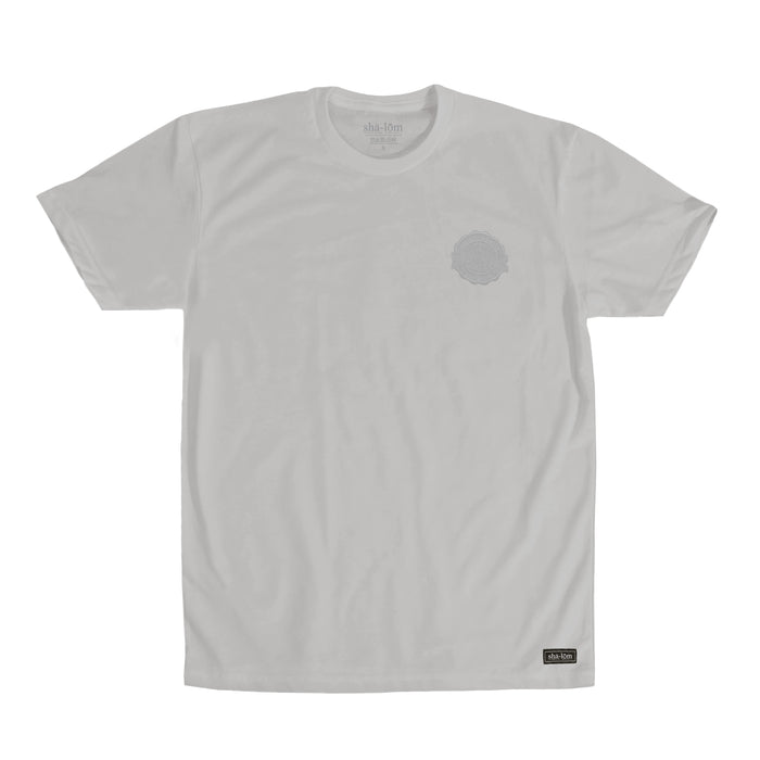 Shalom Embroidered Crest tee Silver
