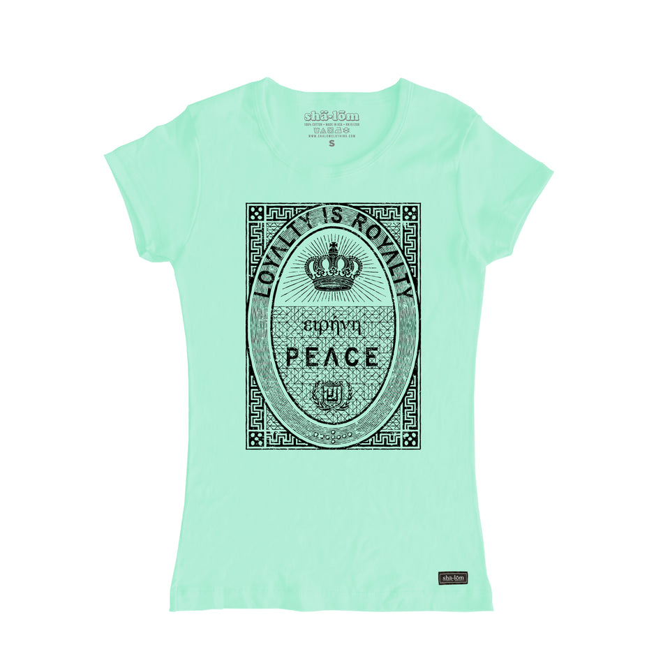 One of our most popular styles, what more can be said…Loyalty is Royalty. This shirt says PEACE in Greek above the word PEACE. It's printed in water base ink on a super soft shirt. 100% Cotton designed and printed in Santa Cruz California