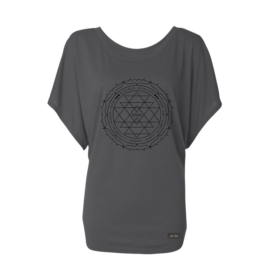 100% Ringspun Cotton Dolman Tee with our Sacred design printed with black water base ink. This ink is super soft and you will not feel it after it's washed. Wear this garment in peace.  100% Cotton Navy Super Soft Breathable Soft ink Loose fit