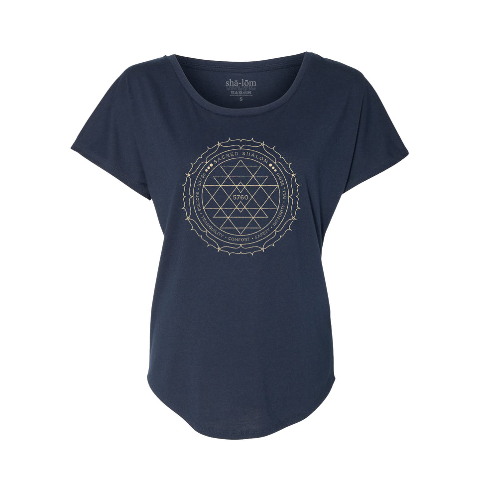 100% Ringspun Cotton Dolman Tee with our Sacred design printed with discharge ink. This ink is super soft and you will not feel it after it's washed. Wear this garment in peace.  100% Cotton Navy Super Soft Breathable Soft ink Loose fit