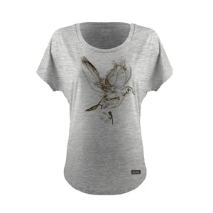 SMOKE DOVE DOLMAN TEE HEATHER WOMENS
